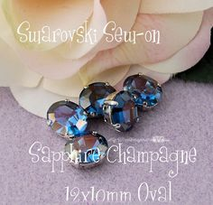 Sapphire Champagne Swarovski Crystal 12 x 10 Oval 4120 in a SP 4-hole Prong Setting - Wire Jewelry Supply - Component