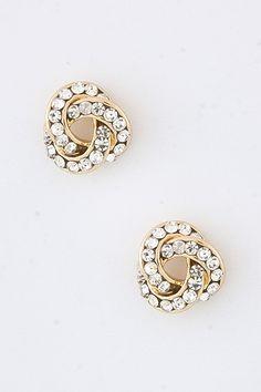 Golden Crystal Infinity Earrings