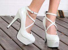 white high heels ! shoes, fashion, white shoe, style, shoe shoe, high heel, pump, heels, haute couture