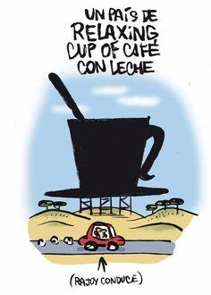 Un país de relaxing cup of café con leche para sonreir, humor grafico
