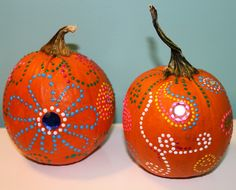 Puffy Paint designs on pumpkins