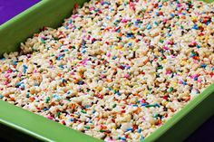 Warning: cake batter rice crispy treats. You will probably never make regular rice crispy treats again.3 Tbsp. butter  1 (10 oz.) bag of mini-marshmallows  1/4 cup yellow cake mix (the dry cake mix, not prepared into a batter!)  6 cups crispy rice cereal  1 (1.75 oz.) container of sprinkles  Method:    Melt butter in a large saucepan over low heat and add marshmallows. Stir until they begin to melt, adding in (dry) cake mix one spoonful at a time so its combined. Stir in cereal and let set