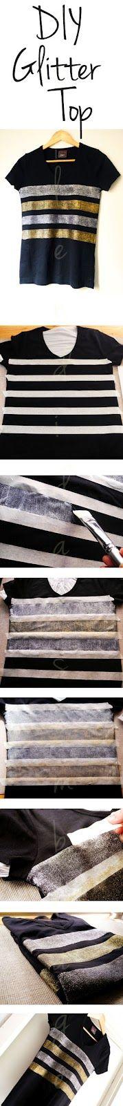 DIY: Glitter Striped Top
