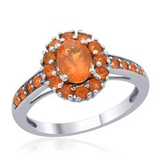 Liquidation Channel | Jalisco Fire Opal Ring in Platinum Overlay Sterling Silver (Nickel Free)