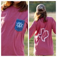 Monogrammed Frocket-Tee with State on back on Etsy, $34.00