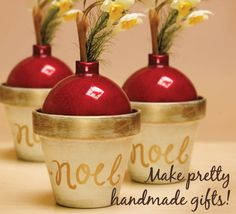 Plaid® Noel Bud Vases   #claypot #craft #christmas