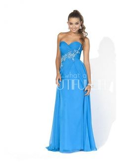 Blue Sweetheart Natural Floor-length Chiffon Prom Dress With Appliques And Beading