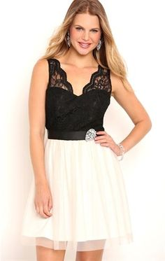 Deb Shops Two Tone Short #Homecoming Dress with Scalloped Lace Illusion Bodice $65.00