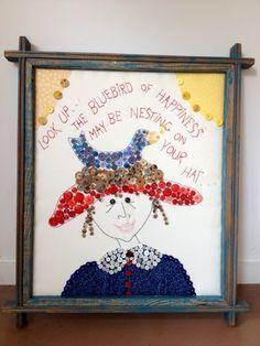 ButtonArtMuseum.com - Mary Teeter Fabric Folk Art Button Work Signed Framed Bluebird of Happiness