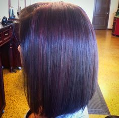 Dark Brown Hair with Purple Hilites, Long Angled Bob Haircut -Color and Cut by Amber Graves Capellas Salon and Spa Mt. Juliet TN