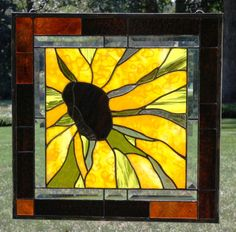 BlackEyed Susan PanelReduced by stainedglassturtle on Etsy, $275.00