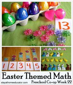 Easter Themed Math Activities (Preschool Co-op Week 22)