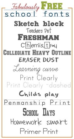 School Fonts.