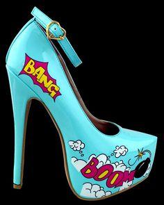 Pinup Pumps | Pinup Comic Stiletto Boom Pump - Stiletto Heels