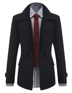 Doublju Mens Half Trench Coat pea coat, colors, men fashion, jackets, doublju men, trench coats, black, peas, men wool