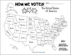 how we voted freebie! Print and color it in as each state is announced!