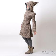CUSTOM Camille Coat with Goblin Hood and tall collar - brown baroque print chevron tweed wool - Winter coat. €340,00, via Etsy.