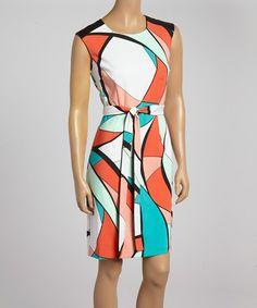 Abstract Tie-Waist Dress
