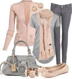 Gray pants and tee with pink jacket and pink & gray accessories. LOVE and WANT!