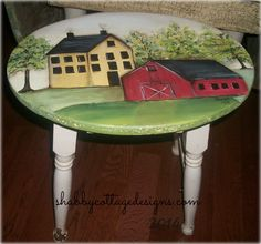 primitive hand painted large farmhouse stool.