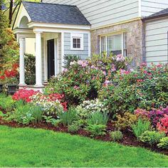 Successful foundation planting starts with picking the right plants in the right proportion: evergreens to provide the structural bones of the beds year round, deciduous and flowering shrubs to add texture, and perennials of varying heights that yield long lasting color. Very pretty...love this!!