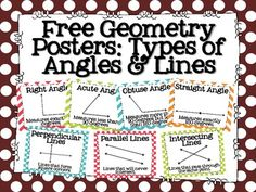 FREE Geometry posters: types of angles and lines