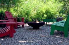 Gravel patio for fire pit