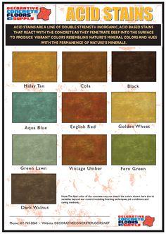 Decorative Concrete Floors Supply offers its own line of concrete acid stains offering 10 unique colors.
