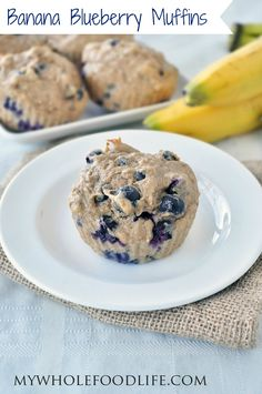 Banana Blueberry Muffins.  Super moist muffins bursting with juicy blueberries and banana.  These are made with no oil, so have a few.  #vegan #glutenfree #breakfast