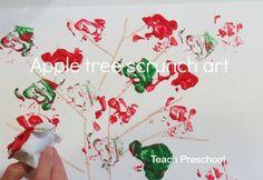 Apple Tree Scrunch Art by Teach Preschool