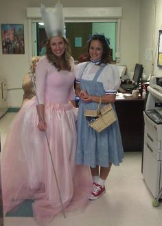 DIY Homemade Glinda the Good Witch & Dorothy Costumes--- I cant decide. Like how she used red converse. I planned on that as well... Dorothy or Glinda??!?