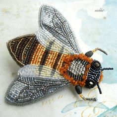 Bead Embroidered Brooch Honey Bee by beadedmischka on Etsy