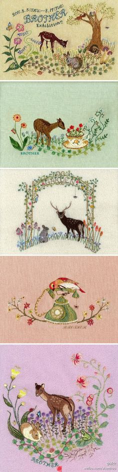 ♒ Enchanting Embroidery ♒ vintage woodland needlework bordado lindo, sew, embroideri inspir, embroideri idea, vintag needlework, needlework stuff, people, vintage needlework, stitchknit
