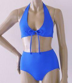 Electric Blue Halter and Retro High Waist Bikini