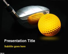Awesome Golf Background template for PowerPoint presentations with golf ball and club