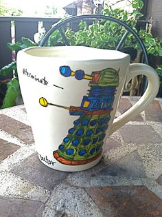 "Doctor Who ""Hello, Dalek"" geeky Eleventh Doctor quote mug - With Dalek and ""Exterminate"" quote. $14.00, via Etsy."