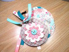 Pink and Aqua Mini Flower Chipboard Coaster Album by HampshireRose, $20.00