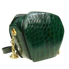 Auth GUCCI Genuine Crocodile Skin Vintage Gold Chain Shoulder Bag Green B14500 | eBay