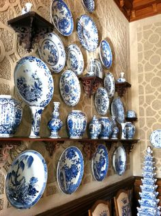 Blue and White wall of porcelain and Delft at Castle Wallenstien outside Prague
