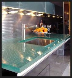 Glass counter top.