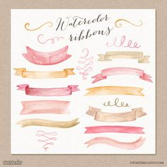 Watercolor Cliparts Ribbons and Swashes Pink Gold Digital cliparts for branding and scrapbooking $8.00 USD color pallettes, watercolor clipart, pink gold, clip art, ribbon, design elements, art pictures, blog designs, color themes