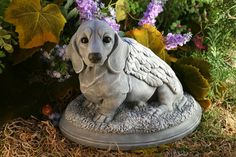 Dog Angel Statue Dachshund Pet Memorial Garden by PhenomeGNOME