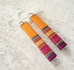 Thread Wrapped Bright Orange and Fuchsia Long Earrings With Turquoise Metallic Accent. $44.00, via Etsy.