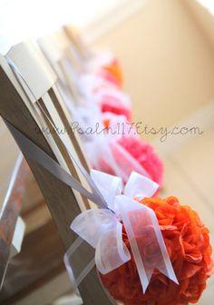 orange and hot pink wedding pomander flower balls - kissing balls hanging flower balls - www.psalm117.etsy.com
