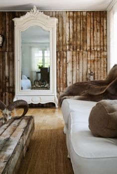 classy white armoir with the rustic wood.