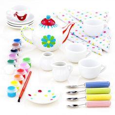 tea time, christmas gift ideas, tea parti, tea sets, parties, teas, gifts, paints, kid