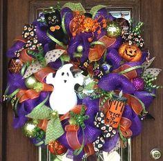 30 Deco Mesh HAPPY GHOST HALLOWEEN Wreath by decoglitz on Etsy