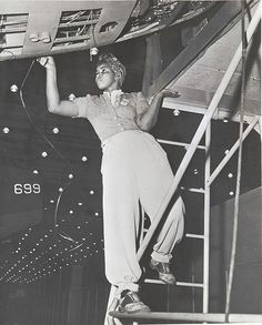 Women in the War Industry Amanda Smith, an African-American woman employed in the Long Beach Plant of the Douglas Aircraft Company. Between 1940 and 1944, approximately one million civilian African Americans entered the labor force; 600,000 of them were female. The proportion of black women in industrial occupations almost tripled during the war, rising from 6.5 to 18 percent. Los Angeles-area aircraft plants were among the first to offer them employment. This woman worked at the Long Beac...
