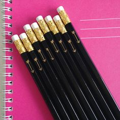 | September Popsugar Must Haves Item | Letter C Design black pencils with gold foil arrow