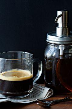 Homemade Vanilla Coffee Syrup from @bakingaddiction
